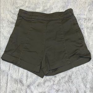Dark green high waisted shorts. Size 4. From H&M